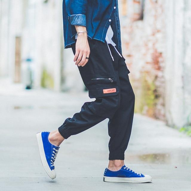 American Streetwear Fashion Joggers Pants Men Green Color Big Pocket Cargo Pants hombre Japanese Style Hip Hop Harem Pants homme