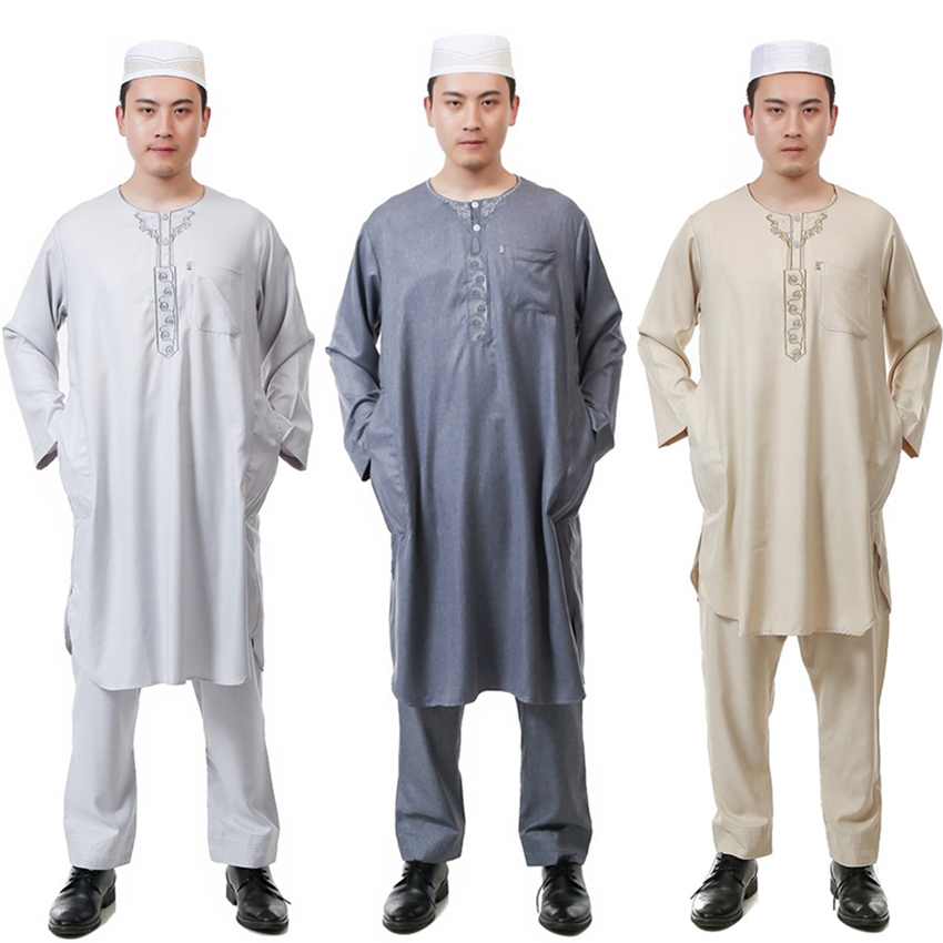 6Color Men Muslim Jubba Thobe Islamic Robes Clothing Pants Set Abaya Kaftan Prayer Embroidery Cotton Eid Salam Arab Man Clothing