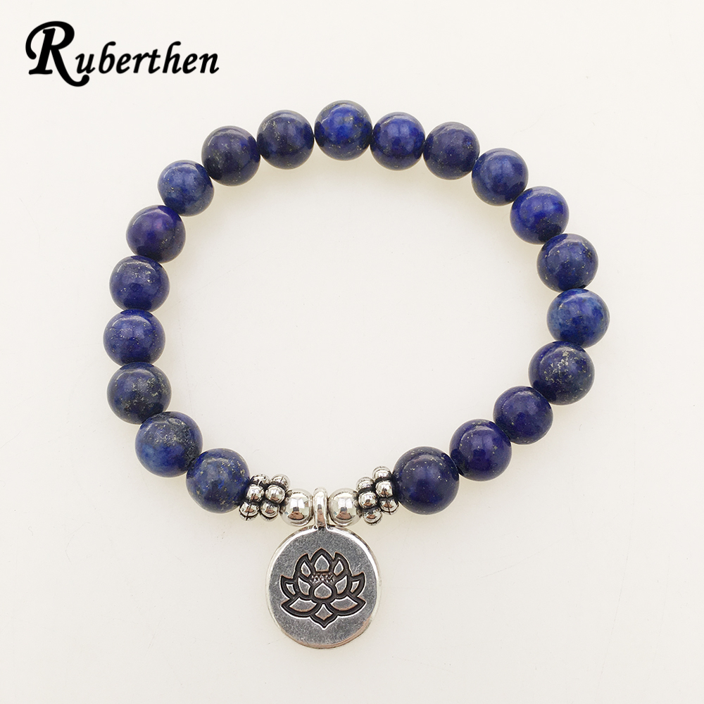 a3408d70df451 US $2.58  Ruberthen High Quality Lapis Lazuli Bracelet Natural Stone Bead  Mens Bracelet Throat Chakra Spiritual Gift for Him Free Shipping-in Strand  ...