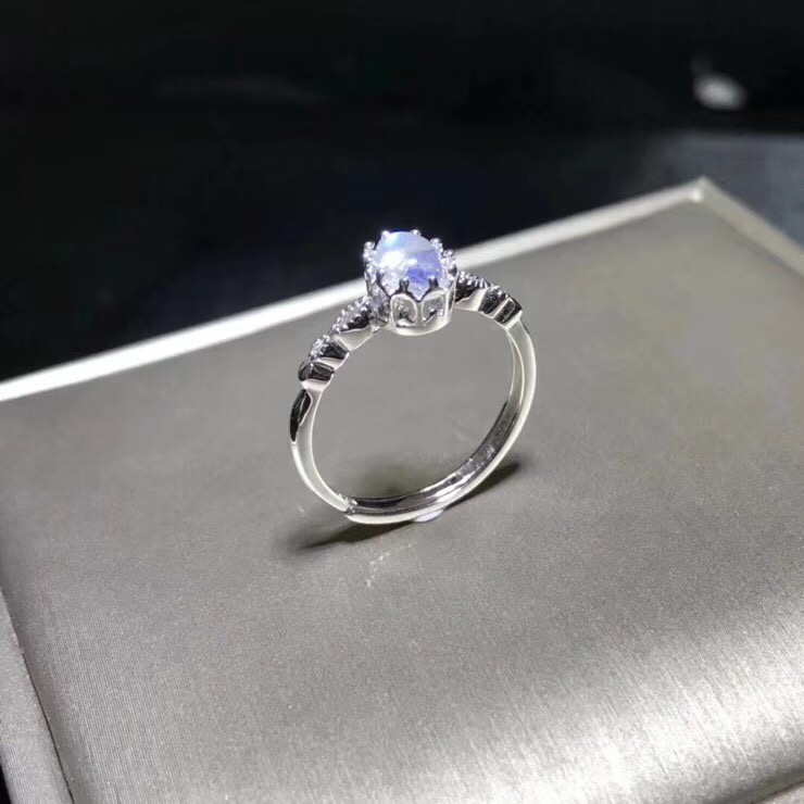 Natural blue moonstone ring simple style shop promotion 925 silver free shipping popular style