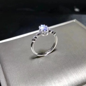 Image 1 - Natural blue moonstone ring, simple style, shop promotion, 925 silver, free shipping, popular style