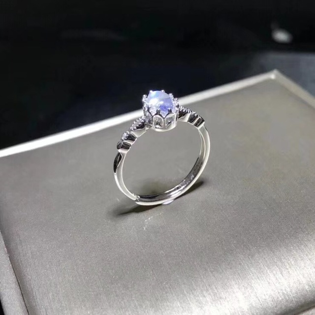 Natural blue moonstone ring, simple style, shop promotion, 925 silver, free shipping, popular style