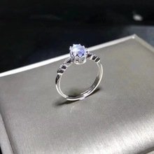 Natuurlijke blauwe maansteen ring, eenvoudige stijl, winkel promotie, 925 zilver, gratis verzending, populaire stijl