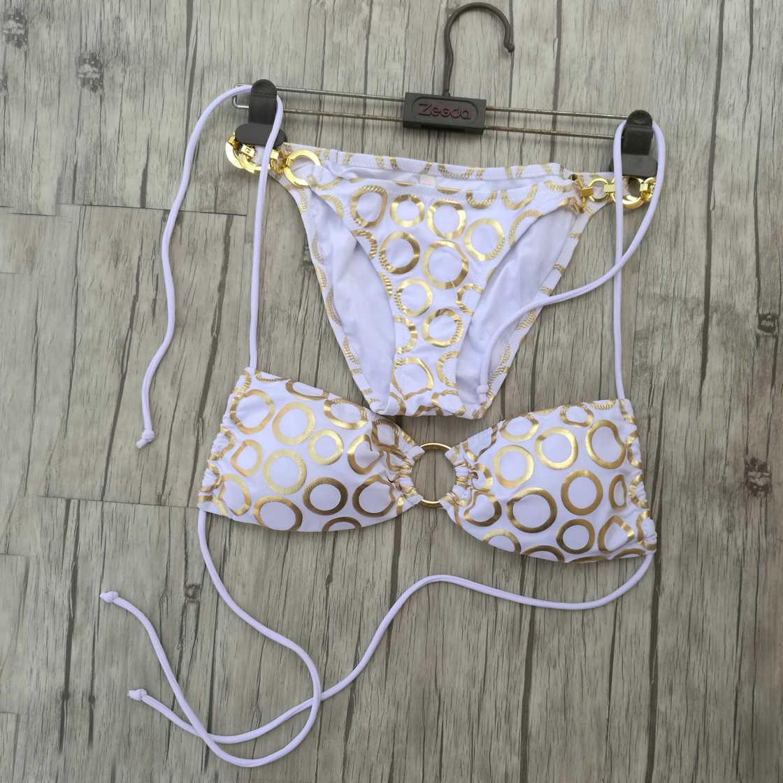 יפה! לבן ביקיני סט לנשים בגדי ים זהב bronzing דפוס מתכת מעגל תכשיטי בגד ים סקסי סוד ברזילאי ביקיני