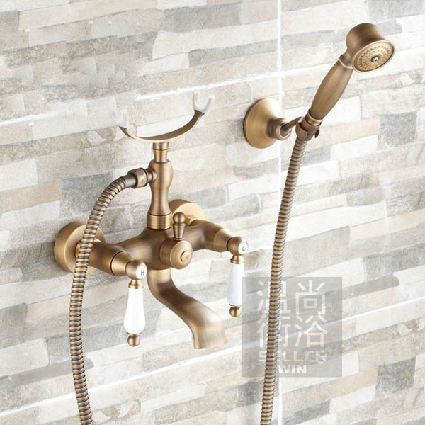 Antique Brass Bathtub Faucet Wall Mount Mixer Tap With Hand Shower/Shower Holder china sanitary ware chrome wall mount thermostatic water tap water saver thermostatic shower faucet
