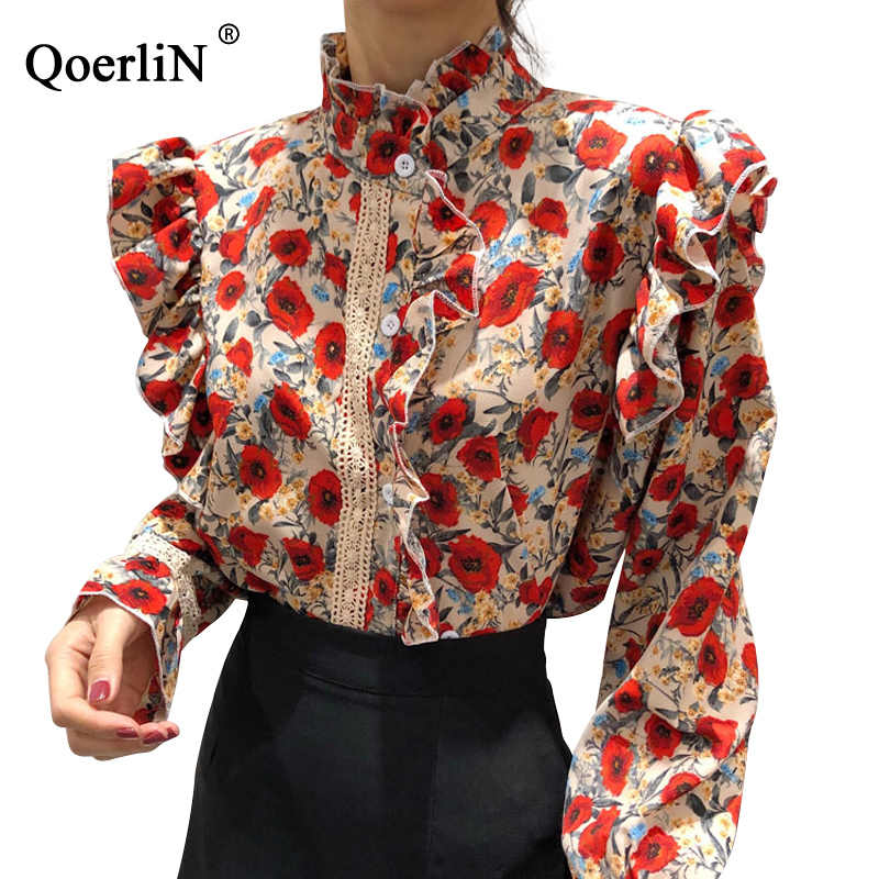 QoerliN Designer Shirts Vrouwen Print Mode Ruches Kraag Lange Mouwen Blouse Dames OL Lace Hollow Out Vintage Haak Geplooide Top