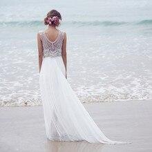 Romantische Strand Abendkleider Sheer Zurück Lange Perlen Perle Abendkleider Modest V-ausschnitt Spaghetti Chiffon Partei Um
