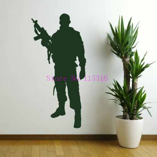 ARMY MEN wall sticker soldier man stickers transfer decals helicopter kids vinyl