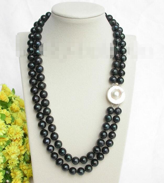 Livraison Gratuite>>>>> 12mm 2 rangée 2 Brins rond noir perles collier mabe 925ss fermoir