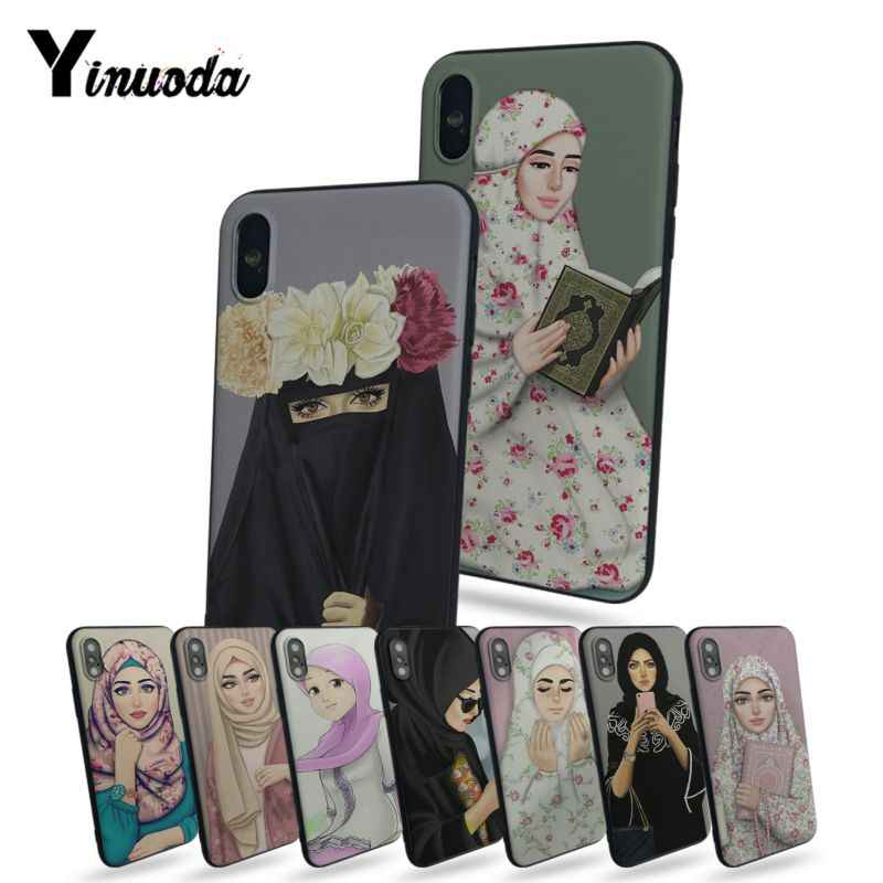 Yinuoda Oriental Woman In Hijab Face Muslim Islamic Gril Eyes Coque Shell Phone Case For iphone  7plus X 8 8plus 5 5s 6s 6s Plus