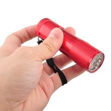 5Pcs/lot YYEDC Aluminum Alloy Portable Outdoor Flashlight Torch Violet Light 9 LED 30LM Torch Light Lamp Mini Flashlight 4 Color