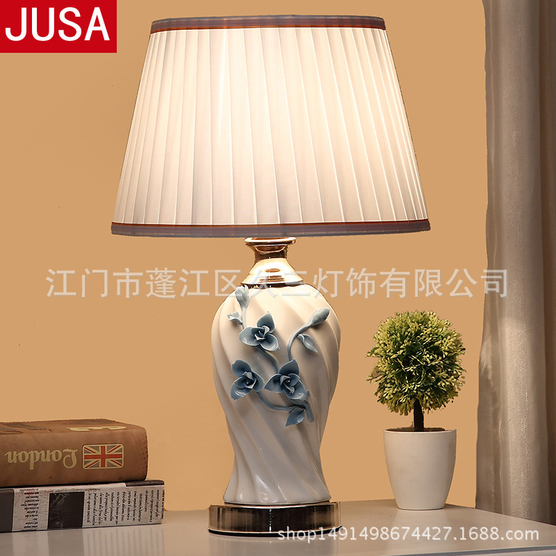 White Ceramic Table Lamp Flower Carving Ceramic Remote Control Table