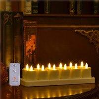 Tealight Vela Sem Chama Luz do Chá Recarregável remoto Pronto Cor Marfim Conjunto de 12 com Branco Base de Vela