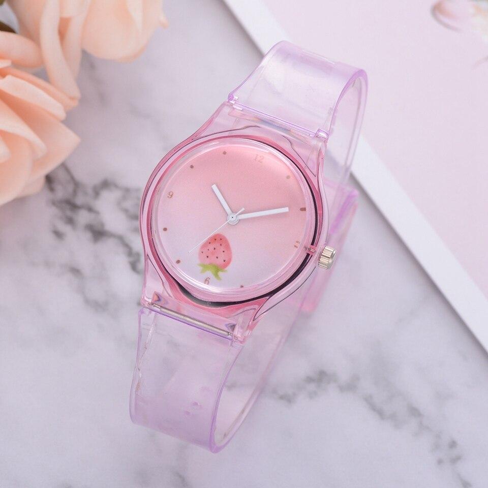 Dropshipping Silicone Strap Style Quartz Women Watch Cartoon Girls Watches Fashion Strawberry Wrist Watch Relogio Feminino