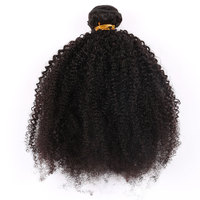 Mongolian Afro Kinky Curly Hair Extension Weave Human Hair Bundles 1pcs Natural Color Remy Hair You