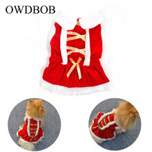 OWDBOB 1pc Christmas Dog Clothes Red Skirt Santa Doggy Costumes Clothing Four Size Puppy Dog Dress Christmas Gifts Pet Supplies(China)