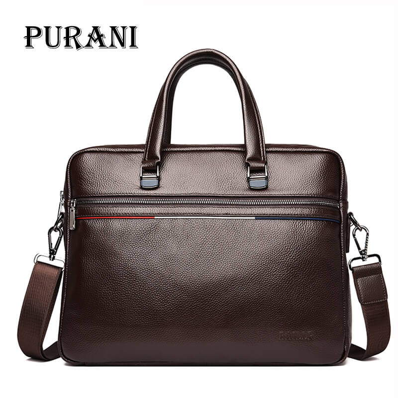 PURANI Genuine Leather Men Bag Handbags Briefcases Shoulder Bags Laptop Tote Bag Men Crossbody Messenger Bags Handbags Designer lacus jerry genuine cowhide leather men bag crossbody bags men s travel shoulder messenger bag tote laptop briefcases handbags