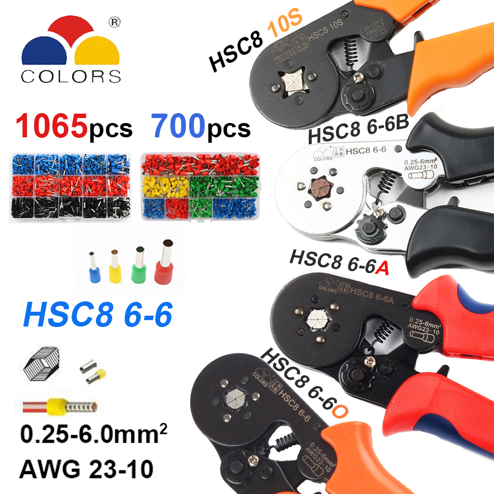 HSC8 0.25-6mm2 23-10AWG crimping pliers HSC8 6-6A HSC8 6-6 mini round nose plier with tube needle terminals box hand tools black цена