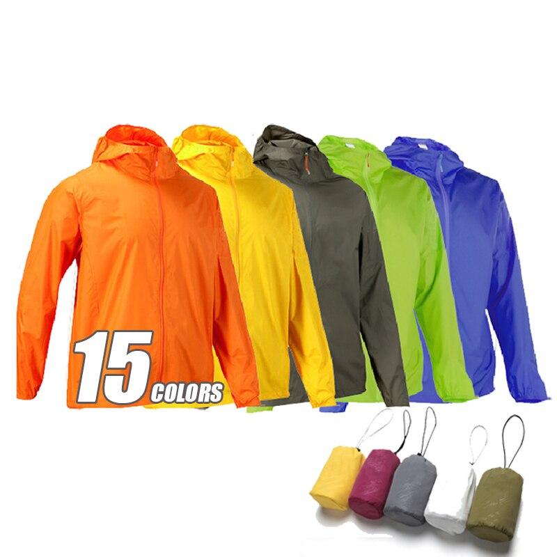 2018 extérieur imperméable coupe-vent coupe-vent veste hommes femmes manteau coupe-vent lumière Camping veste hommes vestes femmes 15 couleurs