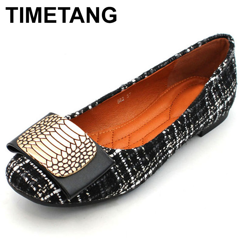 TIMETANG New 2018 Fashion Brand Shoes Women Flats Soft Single Shoes Elegant Women's Flats Ladies Flat Heel Plus Size 41 C253 new 2017 spring summer women shoes pointed toe high quality brand fashion womens flats ladies plus size 41 sweet flock t179