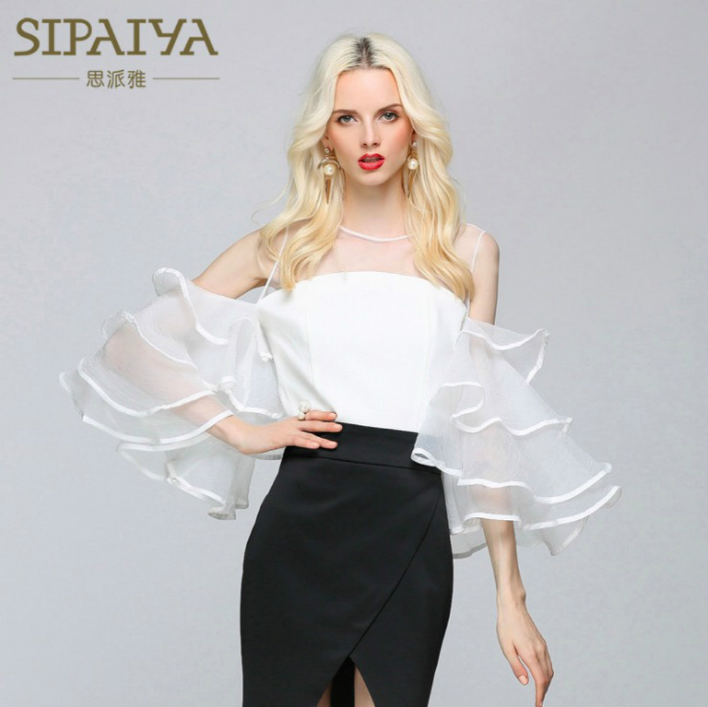 Newest Women's Blouses Sexy Backless Ruffles Sleeves Short Voile Shirt 2018 Summer Female Blouse Black White Shirts Pink Top
