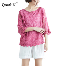 QoerliN Girls T-Shirts Lace Tops Women White Shirts Casual Female Summer New Loose Thin Round Neck Hollow Out Tees 2019