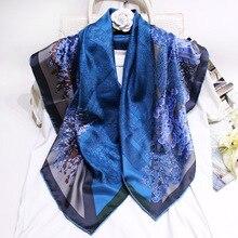 Джунгли Шелковый саржевый женский шарф Новая мода оранжевый синий квадратный шарфы шали одежда для шеи шарфы аксессуары пляжные 90x90 см FJ122