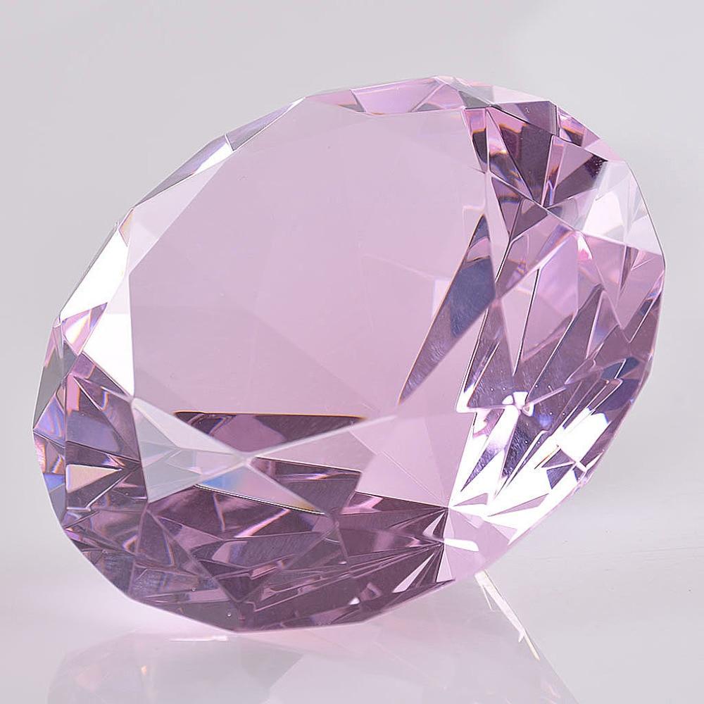 50mm Colorido Crysta Diamante Rosa rojo azul Pisapapeles Joya Gigante - Decoración del hogar - foto 3