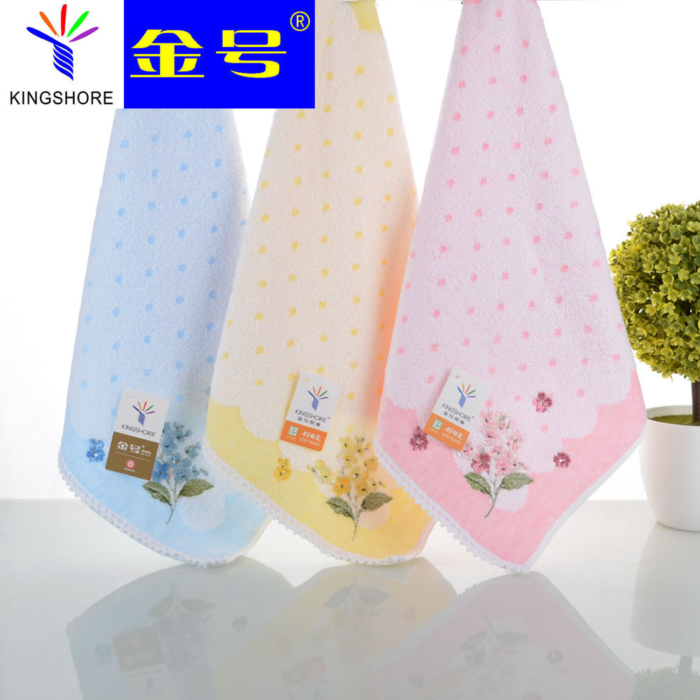 100%Pure cotton towel embroidered Twistless cut pile cotton towel Handkerchief baby towel to wipe hand portable for travelling