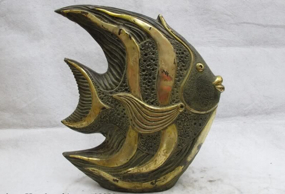 Elegant old S0218 Chinese Folk Classic Bronze Copper Gilt Feng Shui Lucky sea torrid zone Fish statue|statue of liberty decoration|statues figurines|statue moulds - title=