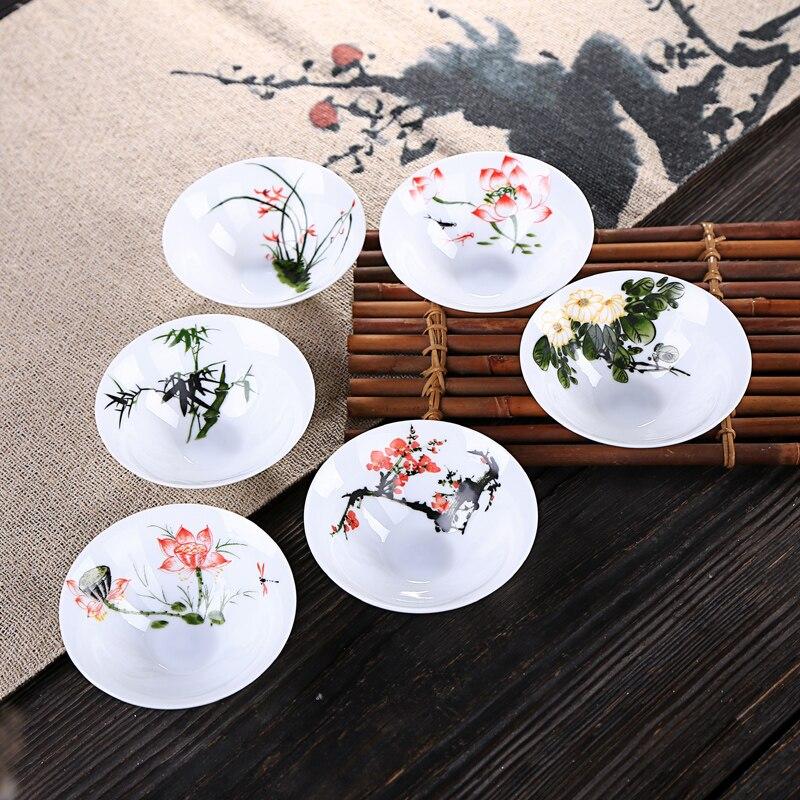 الصين الكونغ فو طقم شاي أكواب الخزف وعاء الشاي فنجان شاي فنجان من السيراميك السلطانيات الصينية خمر الخيزران قبعة كأس ناحية رسم اللوحة
