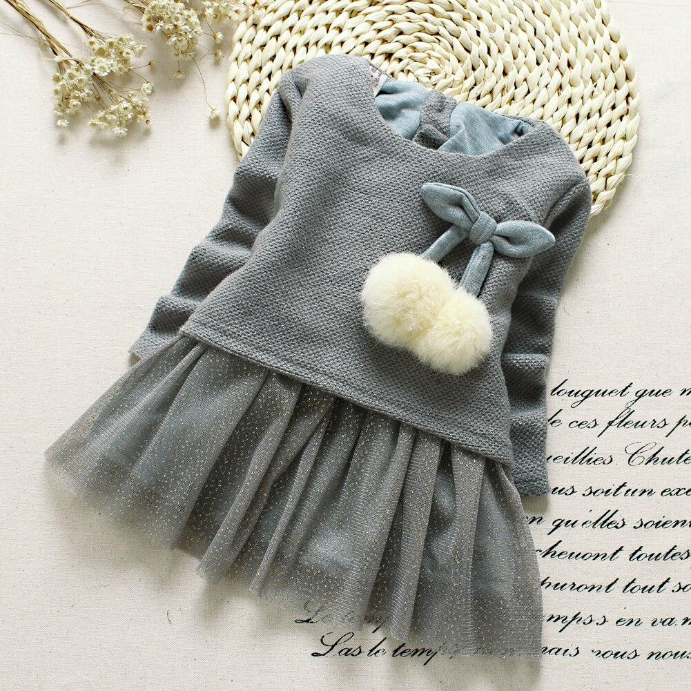2017 New Fuzzy Sequins Newborn Girl Dress Baby Girls Long Sleeve Knitted Bow Infants Tutu Princess Dress drop shoulder bishop sleeve fuzzy jumper