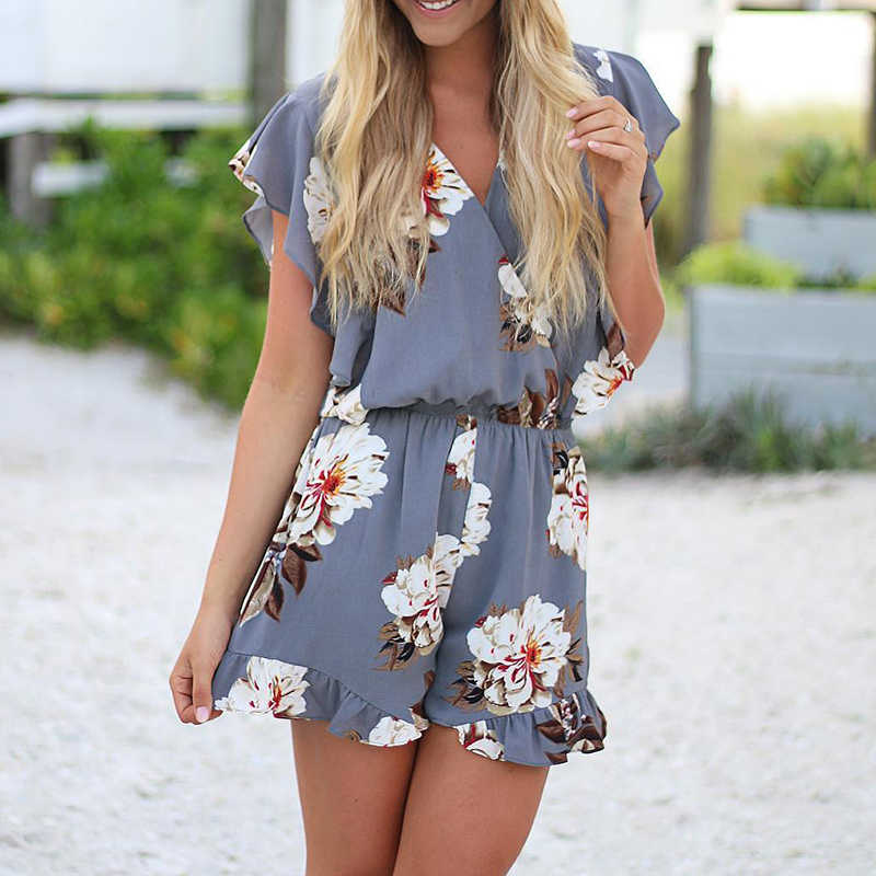 UZZDSS Women Casual Beach Playsuit Summer 2019 Female Ruffles V-Neck Red Gray Printing Sexy Party Rompers Womens Playsuits