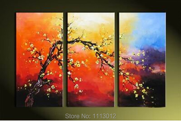 Hand Painted Home Wall Decoration 3 Panel Red Tree Oil