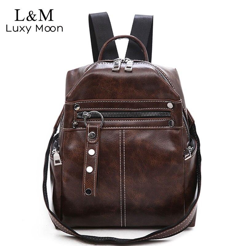 9385de6039a0 Винтаж для женщин рюкзаки PU кожа Сумка Простой повседневное школьная сумка  для учебников женский сплошной Mochila обувь для девочек ретро рюкз.