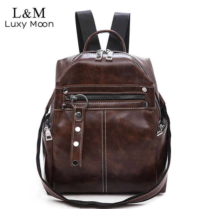 Vintage Women Backpacks PU Leather Shoulder Bag Simple Casual School Bookbag Female Solid Mochila Girls Retro Backpack XA181H