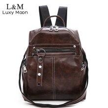 купить Vintage Women Backpacks PU Leather Shoulder Bag Simple Casual School Bookbag Female Solid Mochila Girls Retro Backpack XA181H дешево