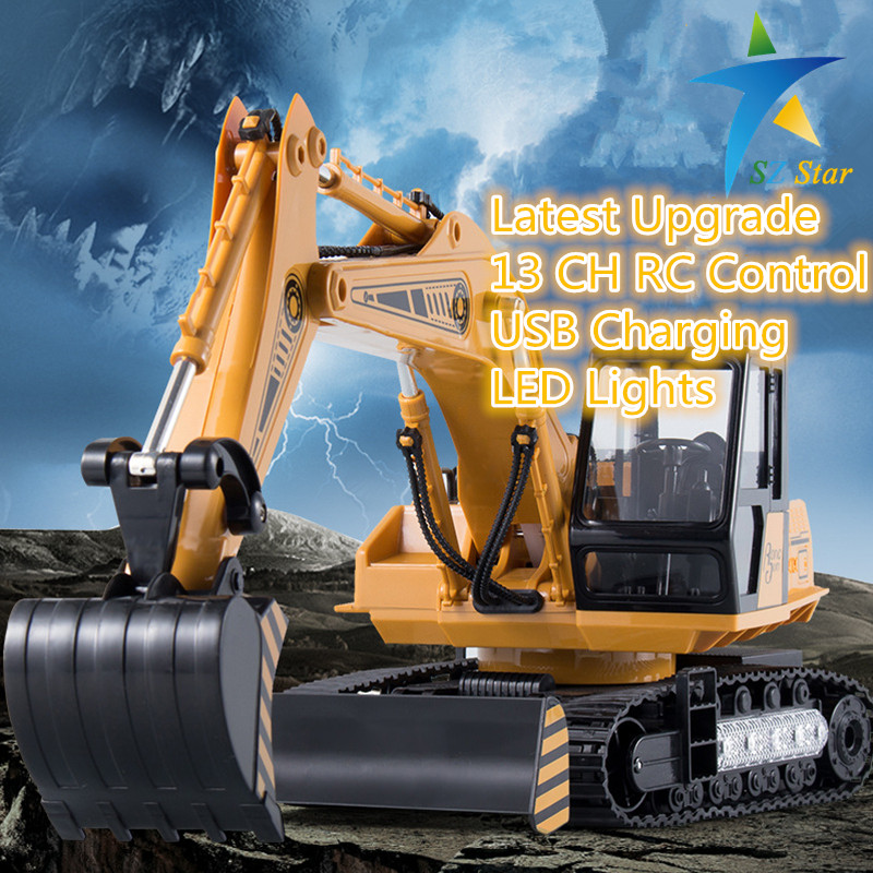 ФОТО RC Excavator Alloy 2.4G 13CH Remote Control Engineering Digger Truck Model Electronic Excavator Heavy Machinery Wireless Toy