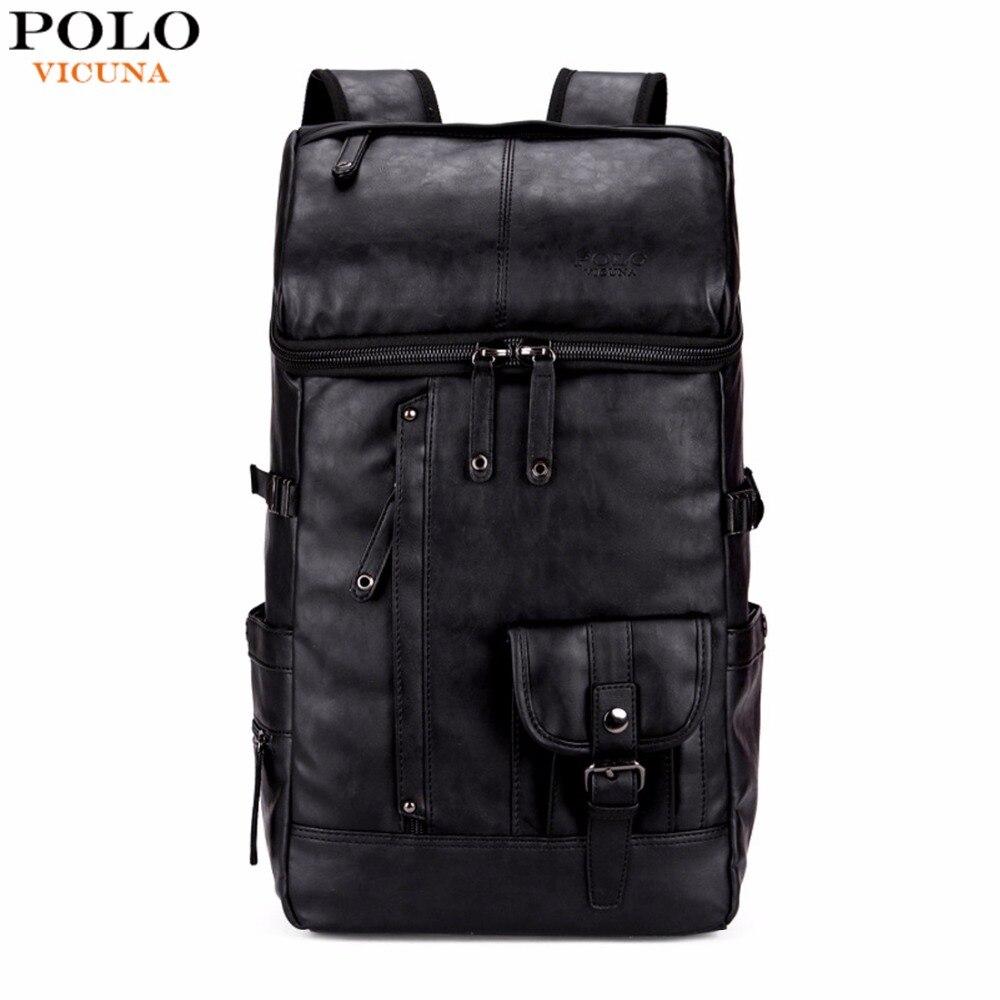 VICUÑA POLO de Alta Capacidad Grandes Hombres Mochila de Viaje Bolsa de Hombre Mochila De Viaje Mochila Portátil mochila masculina de Cuero Negro