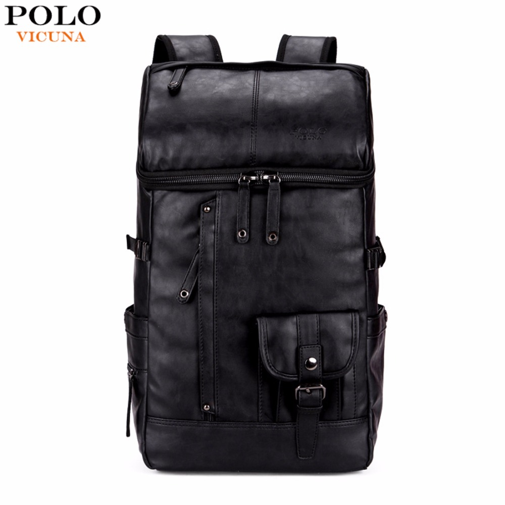 VICUNA POLO High Capacity Large Mens Travel Backpack Bag Black Leather Man Backpack For Trip Laptop Backpack mochila masculina vicuna polo men leather usb cable travel laptop backpack with headphone hole school backpack has front pocket bagpack mochila