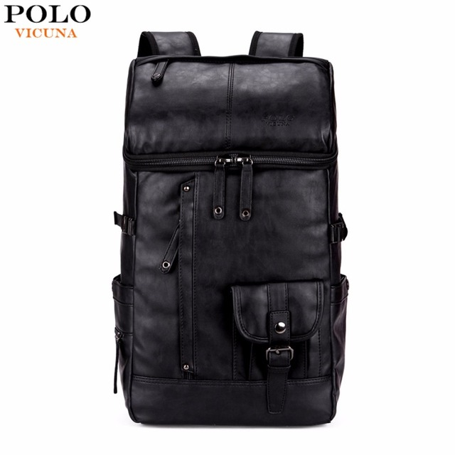 ceea85fb9856 VICUNA POLO High Capacity Large Mens Travel Backpack Bag Black Leather Man  Backpack For Trip Laptop
