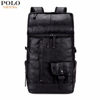 VICUNA POLO High Capacity Large Mens Travel Backpack Bag Black Leather Man Backpack For Trip Laptop