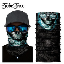 Blue Mite Pattern Skeleto Bandana Balaclava Outdoor Hunting Breathing Motorcycle Cycling Protecti Windproof Dust-proof Ski Caps