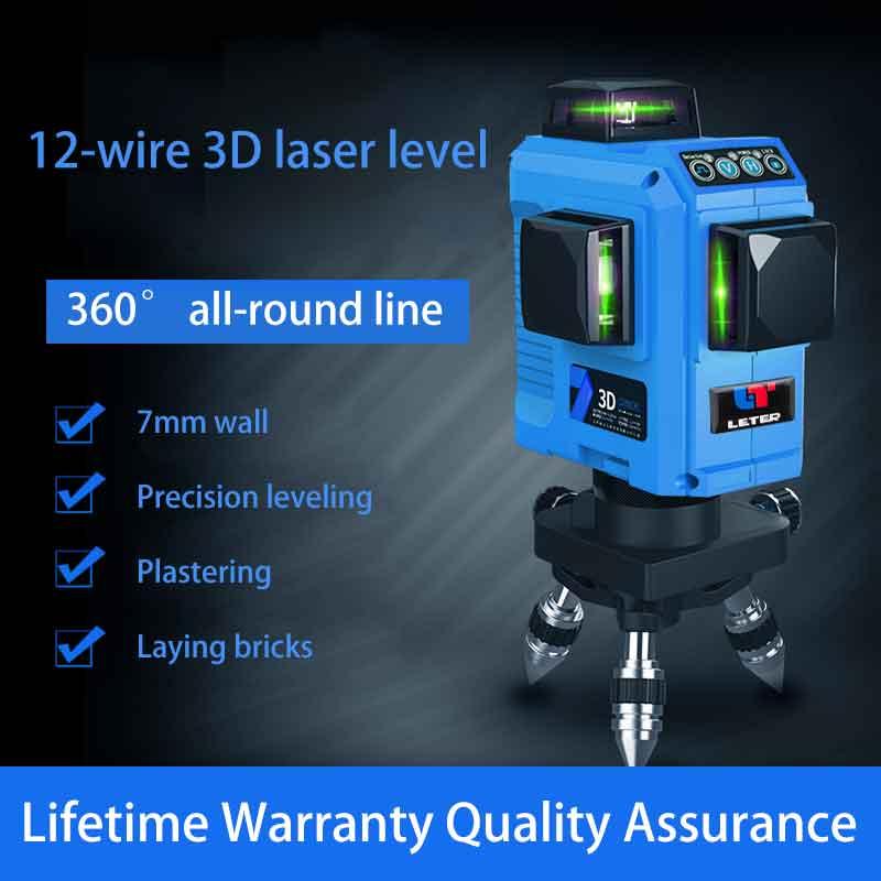 Nivel 12 líneas 3D 360 grados línea láser nivelación Línea Verde ajuste preciso en el nivel de láser al aire libre