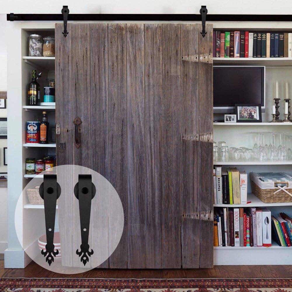 LWZH 14ft/15ft Style rustique en acier noir classique porte coulissante grange matériel grange porte en bois porte coulissante Kit pour porte simple