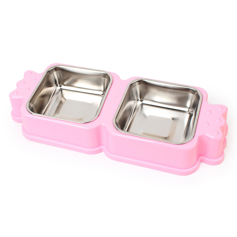 High quality Double Stainless Steel Pet Dog Cat Puppy Travel Feeding Feeder Food Bowl Water Dish New