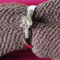 Au585 Quality Guarantee Test Positive 0.5Ct Moissanite Proposal Ring Genuine 14K 585 White Gold Engagement Bridal Ring