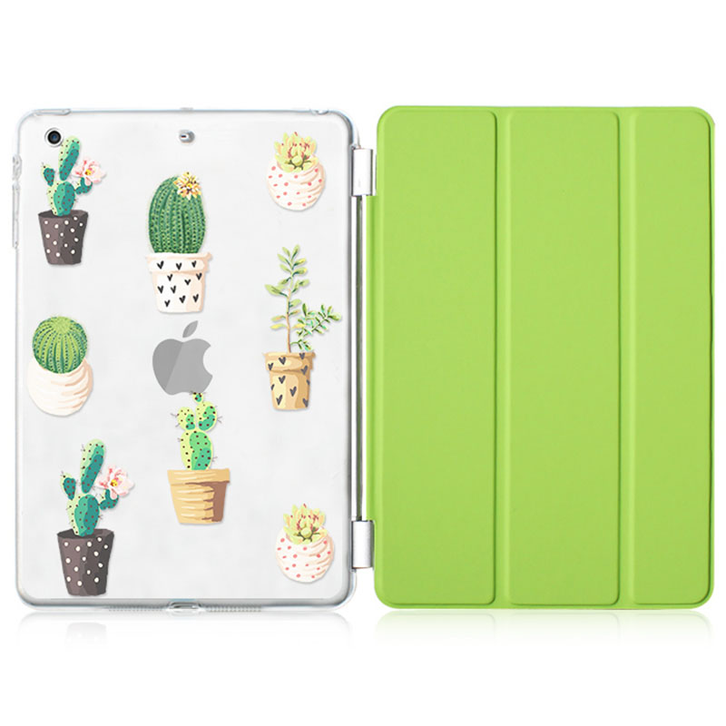 Case for Ipad 9.7 inch 2017 Cactus Series Auto Sleep /Wake Up Flip PU Leather Case for New Model A1822 A1823 Smart Stand Cover newest hard shell leather cover case for kobo aura h2o 6 8 inch ebook wake up and sleep screen protector stylus pen