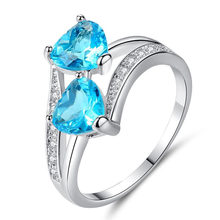 2019 Blue Double Heart Ring Crystal Wedding Zircon Jewelry Women Accessories Engagement Rings