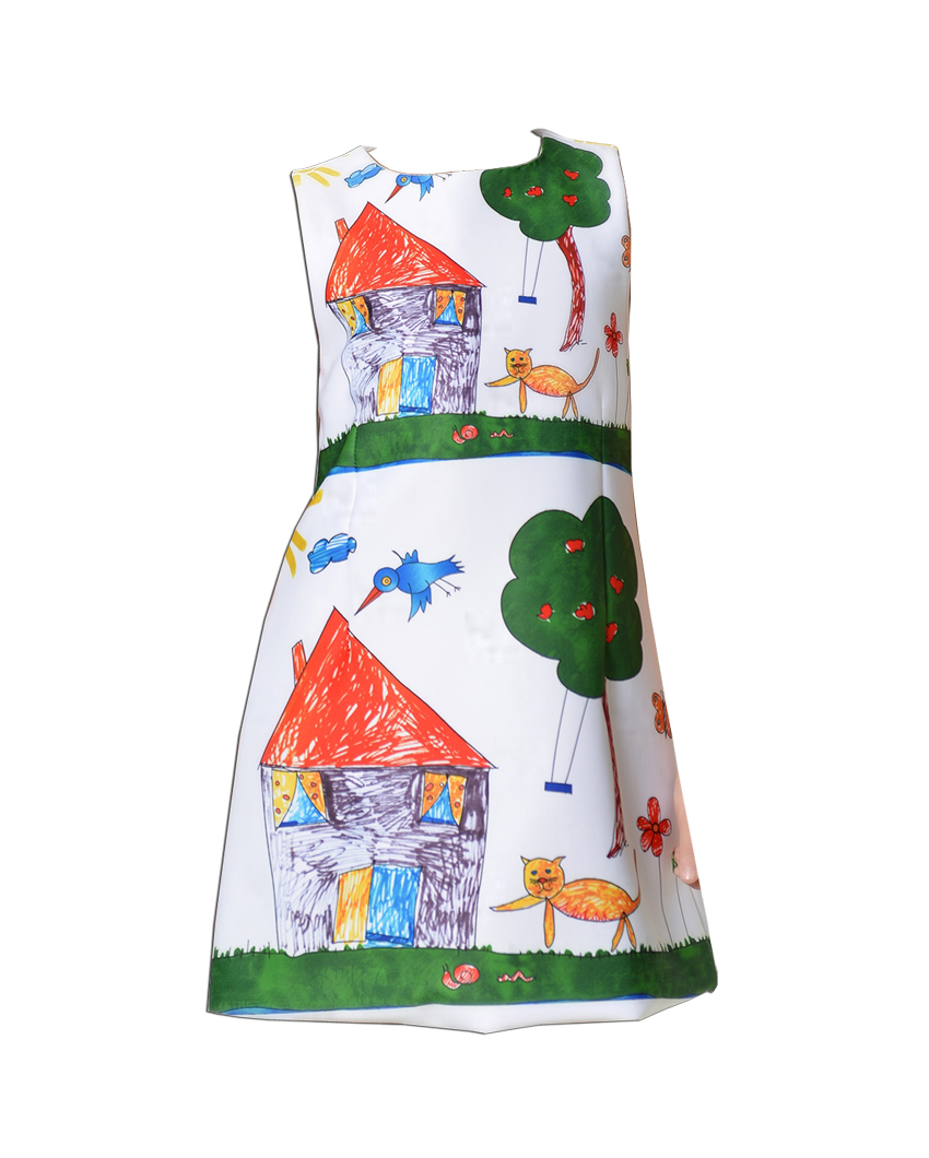 High quality Girls Dress 2016 Fashion Hand Painted Cartoon Print Kids Dresses for Girl in Christmas Party Size 2-10Y